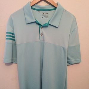 Adidas New Mens Size Large Sky Blue Golf Shirt